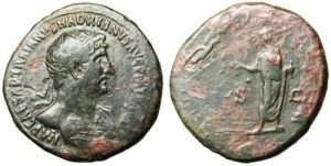 Dupondius: Eagle flying with sceptre toward Hadrian
